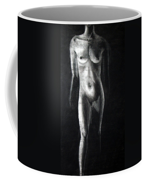 Model Coffee Mug featuring the drawing Charcoal Nude Study by Nancy Mueller