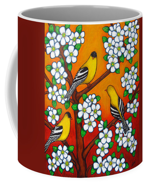 Goldfinch Coffee Mug featuring the painting Chardonnay Sunset by Lisa Lorenz