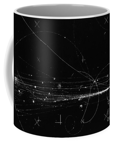 Science Coffee Mug featuring the photograph Charged Particles, Bubble Chamber Event by Science Source