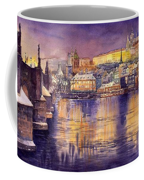 Cityscape Coffee Mug featuring the painting Charles Bridge and Prague Castle with the Vltava River by Yuriy Shevchuk