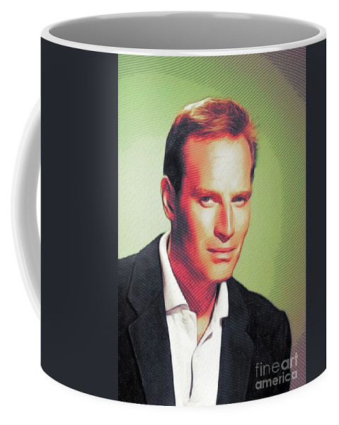 Charlton Coffee Mug featuring the digital art Charlton Heston, Hollywood Legends by John Springfield