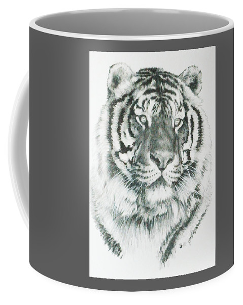 Tiger Coffee Mug featuring the mixed media Charming by Barbara Keith