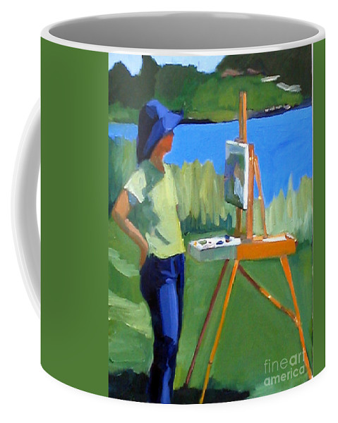 Painting Coffee Mug featuring the painting Charyl Painting At Pope John Paul II Park by Deb Putnam