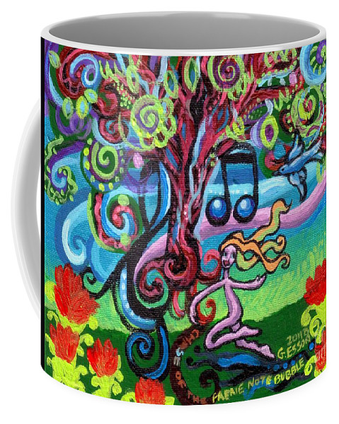 Chase Of The Faerie Note Bubble Coffee Mug featuring the painting Chase Of The Faerie Note Bubble by Genevieve Esson