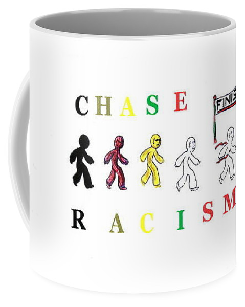 Race Coffee Mug featuring the painting Chase Racism by MERLIN Vernon