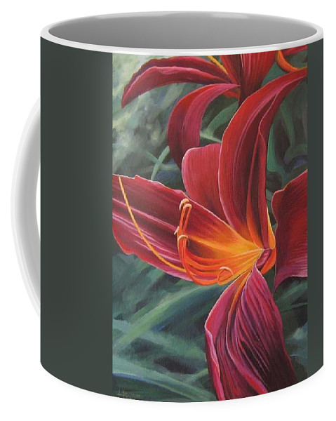 Lily Near Cheesman Park Coffee Mug featuring the painting Chase The Sun by Hunter Jay