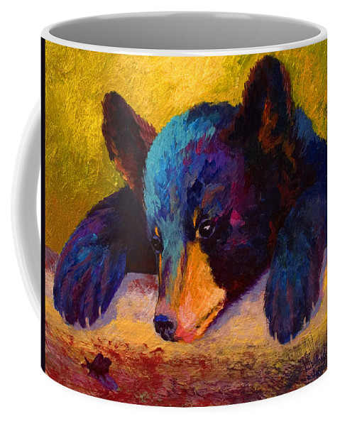 Bear Coffee Mug featuring the painting Chasing Bugs - Black Bear Cub by Marion Rose