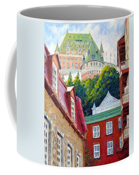 Town Coffee Mug featuring the painting Chateau Frontenac 02 by Richard T Pranke