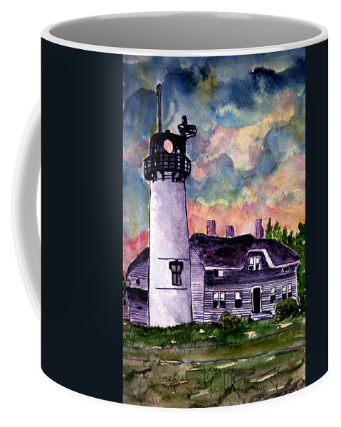 Lighthouse Coffee Mug featuring the painting Chatham Lighthouse Martha's Vineyard Massachuestts Cape Cod Art by Derek Mccrea