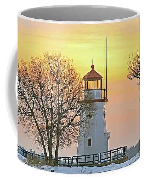 Landscape Coffee Mug featuring the photograph Cheboygan Harbor Light 2 by Michael Peychich