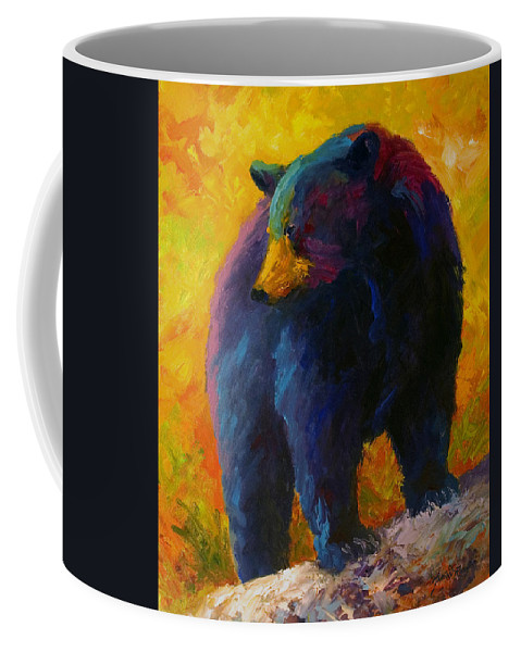 Western Coffee Mug featuring the painting Checking The Smorg - Black Bear by Marion Rose