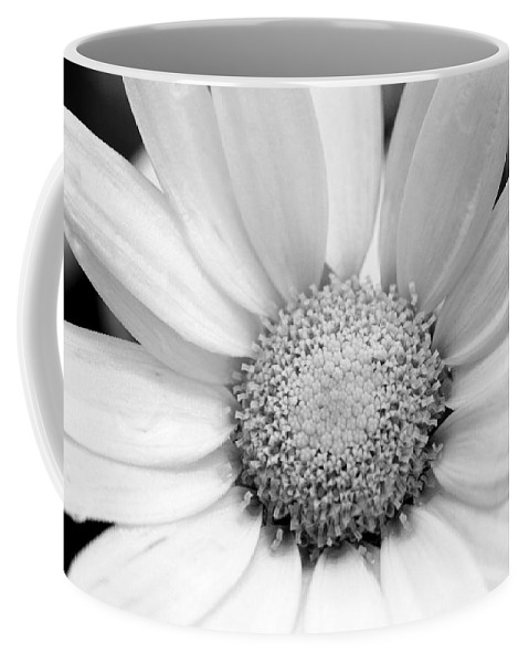 Flower Coffee Mug featuring the photograph Cheery Daisy - Black And White by Angela Rath