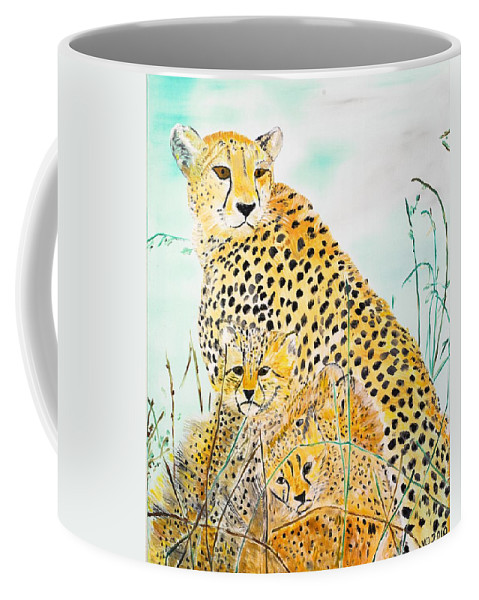 Cheetah Coffee Mug featuring the painting Cheetah Family by Valerie Ornstein