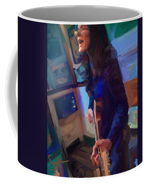 Chelsea Saddler Music Musician St. Augustine Painting Portrait Guitar Coffee Mug featuring the digital art Chelsea by Scott Waters