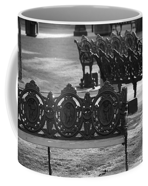 Black And White Coffee Mug featuring the photograph Cherb Benches by Rob Hans