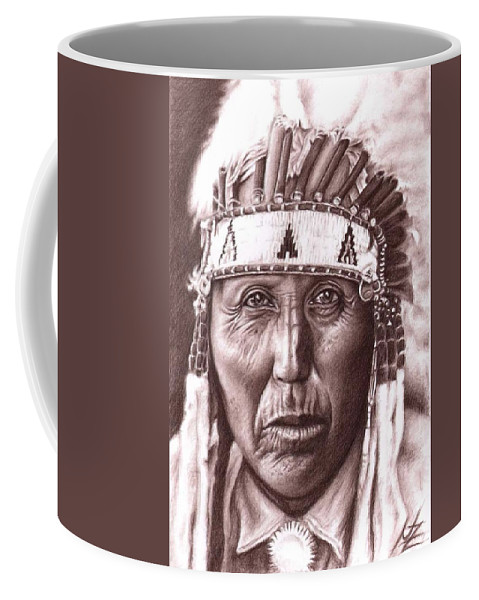 Indian Coffee Mug featuring the drawing Cherokee by Nicole Zeug
