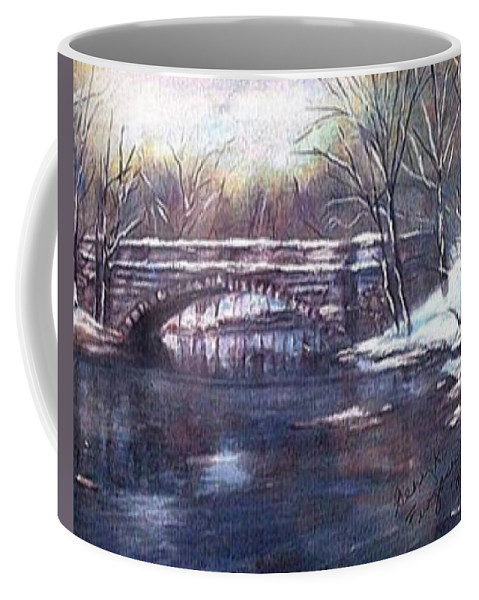 Cherokee Park Coffee Mug featuring the painting Cherokee Park Bridge by Gerry Furgason