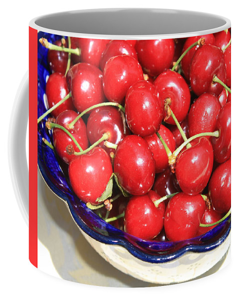 Food Coffee Mug featuring the photograph Cherries In A Bowl Close-up by Carol Groenen