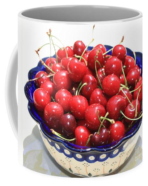 Cherries Coffee Mug featuring the photograph Cherries In Blue Bowl by Carol Groenen