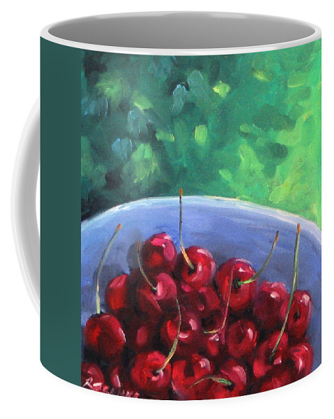 Art Coffee Mug featuring the painting Cherries On A Blue Plate by Richard T Pranke