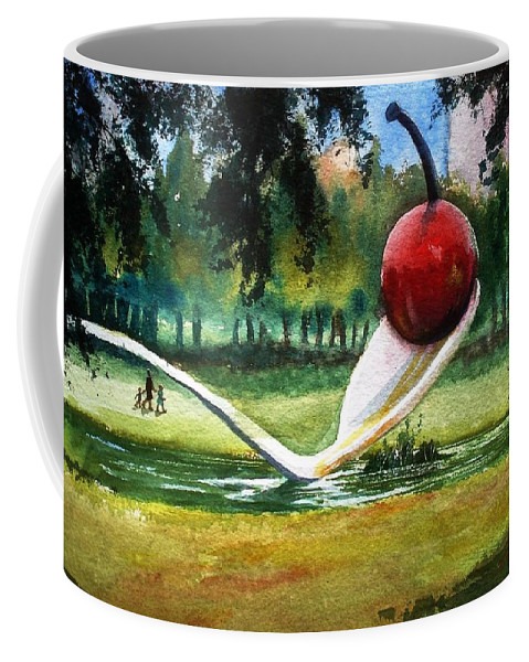 Cherry & Spoon Coffee Mug featuring the painting Cherry And Spoon by Marilyn Jacobson