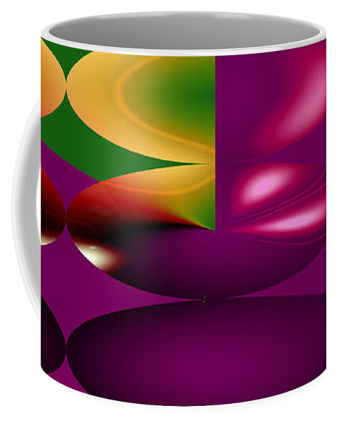 Cherry Cherries Fruit Abstract Orange Purple Green Food Plants Coffee Mug featuring the digital art Cherry by Andrea Lawrence