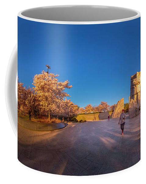 Mlk_blossom_pano_edited Coffee Mug featuring the photograph Cherry Blossom At The Mlk Monument by Jelieta Walinski