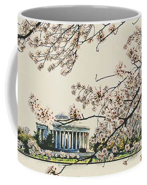 Cherry Blossoms Coffee Mug featuring the photograph Cherry Blossom Tidalbasin View by Alice Gipson