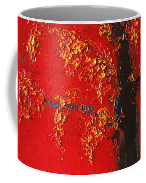 Landscape Coffee Mug featuring the painting Cherry Blossom Tree - Red Yellow by Patricia Awapara
