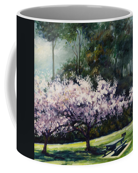 Trees Coffee Mug featuring the painting Cherry Blossoms by Rick Nederlof