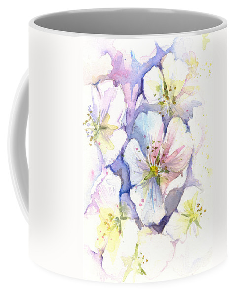 Cherry Blossom Coffee Mug featuring the painting Cherry Blossoms Watercolor by Olga Shvartsur