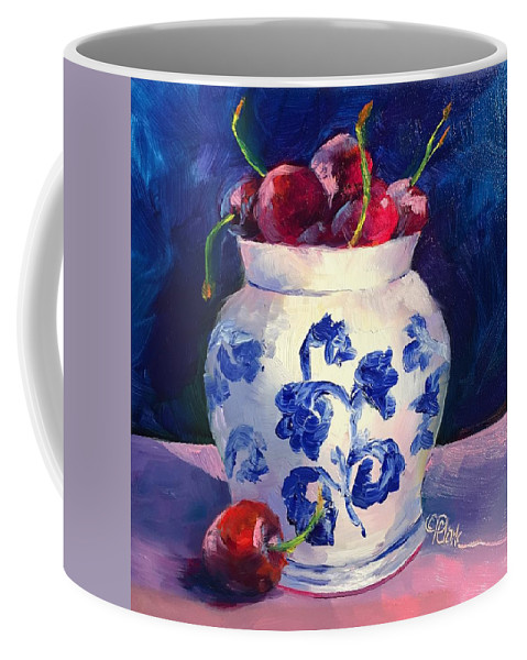 Red Coffee Mug featuring the painting Cherry Delights by Donna Pierce-Clark