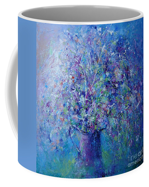 Bouquet Coffee Mug featuring the painting Cherry Lime Bouquet by Dan Campbell