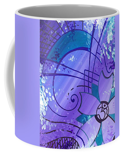 Purple Coffee Mug featuring the painting Cherry Om by Noah Babcock