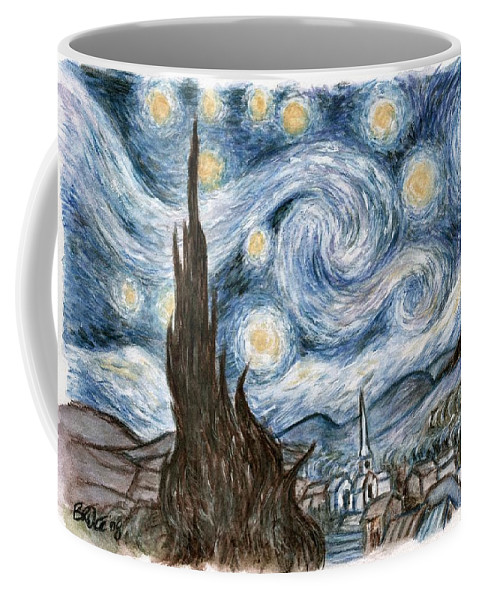 Bruce Lennon Art Stary Night Coffee Mug featuring the painting Cher's Stary Night by Bruce Lennon