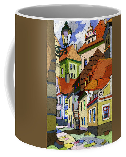 Pastel Coffee Mug featuring the painting Chesky Krumlov Masna Street 1 by Yuriy Shevchuk