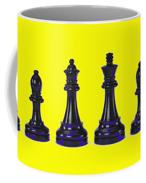 Yellow Coffee Mug featuring the photograph Chessmen by Robert Ponzoni