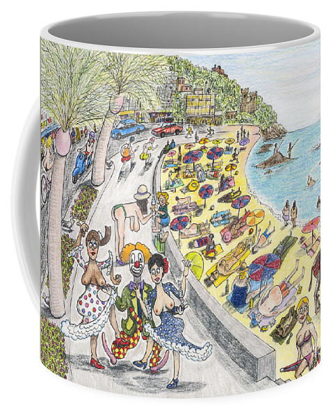 Spain Coffee Mug featuring the drawing Chest Out In Costa Bra Less by Steve Royce Griffin