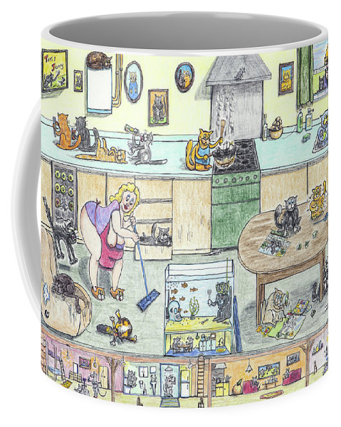 Kitchen Coffee Mug featuring the drawing Chest Out In The Kittychen by Steve Royce Griffin