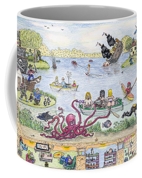 Boat Coffee Mug featuring the drawing Chest Out On The Meare Gawpness by Steve Royce Griffin