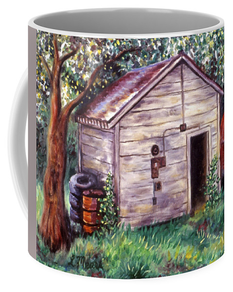 Shed Coffee Mug featuring the painting Chester's Treasures by Linda Mears