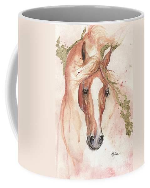 Horse Coffee Mug featuring the painting Chestnut Arabian Horse 2016 08 02 by Angel Ciesniarska