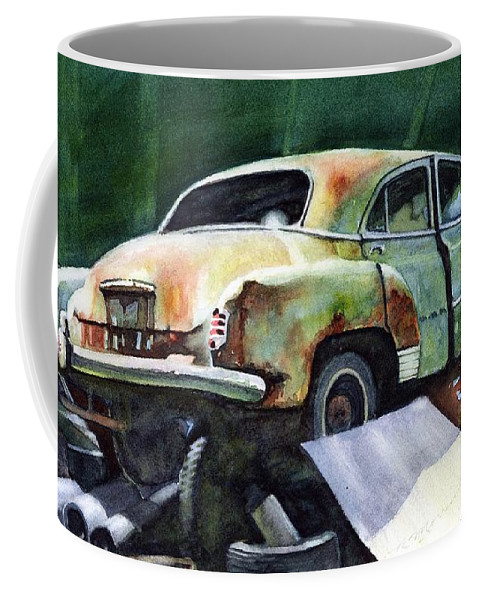 Chev Coffee Mug featuring the painting Chev At Rest by Ron Morrison