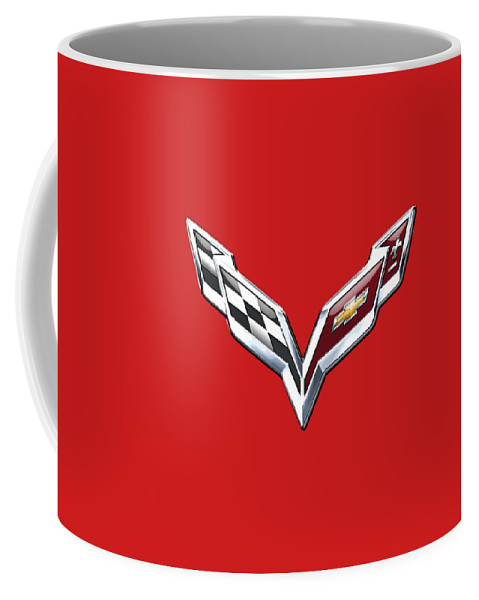 'wheels Of Fortune' Collection By Serge Averbukh Coffee Mug featuring the photograph Chevrolet Corvette - 3d Badge On Red by Serge Averbukh