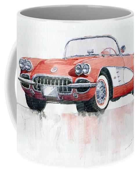 Watercolor Coffee Mug featuring the painting Chevrolet Corvette C1 1960 by Yuriy Shevchuk