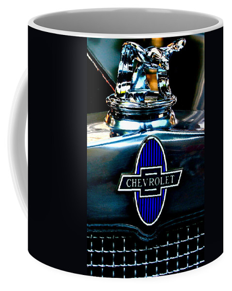 Photograph Of Chevrolet Hood Ornament Coffee Mug featuring the photograph Chevrolet Hoodie by Gwyn Newcombe
