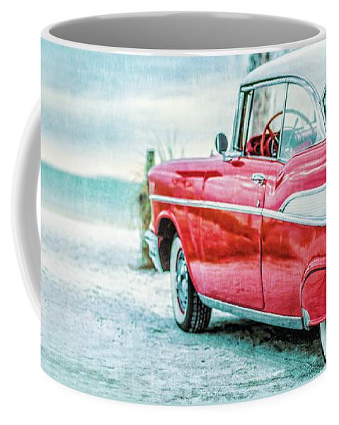 Mug Coffee Mug featuring the photograph Chevy Belair At The Beach Mug by Edward Fielding