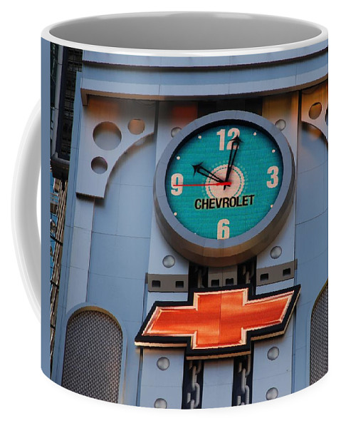 Clock Coffee Mug featuring the photograph Chevy Times Square Clock by Rob Hans