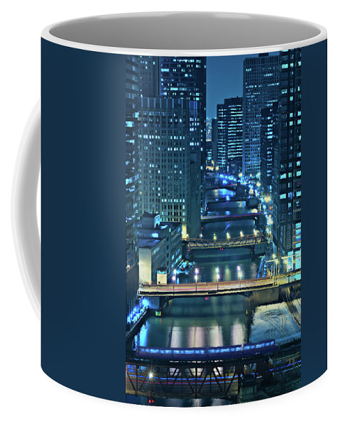 Chicago Coffee Mug featuring the photograph Chicago Bridges by Steve Gadomski
