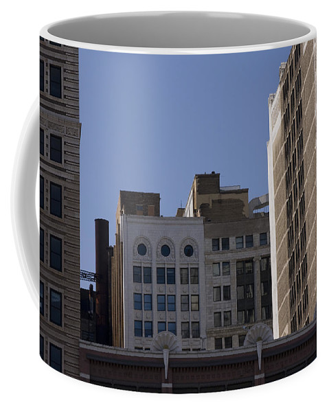 Chicago City Wind Windy Metro Urban Building Blue Sky Tall Big Windows Coffee Mug featuring the photograph Chicago Buildings by Andrei Shliakhau